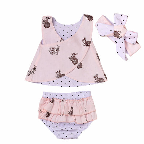 3PCS reversible Newborn Toddler Baby Girl Clothes set Summer Sleeveless Rabbit Printed Vest Back Cross Top+Ruffles Shorts Clothes polka dot - Here Comes A Baby