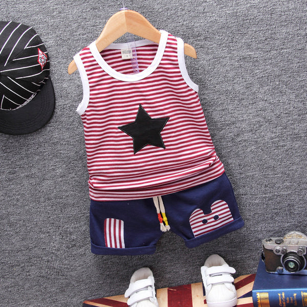 2 piece striped tank top star with matching solid short with patchwork design and drawstring short - Here Comes A Baby