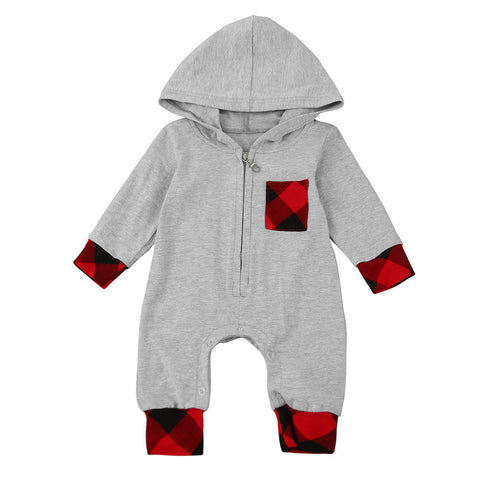 Newborn Infant Baby Boy Girl Plaid Hooded Romper Jumpsuit Outfits Clothes grey solid red plaid zip up sleeper - Here Comes A Baby