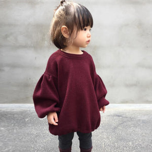 Toddler Infant Baby Kids Girls Solid Lantern Sleeve Shirt Tops Outfits Clothes marron belle puff sleeve casual sweatshirt style dressed up - Here Comes A Baby