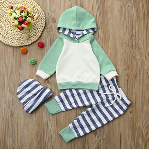 3 piece sweat suit set with striped pants and hooded long sleeve sweatshirt with matching striped beanie - Here Comes A Baby