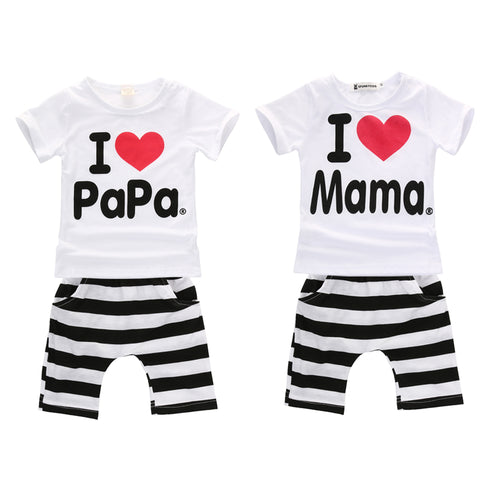 Neutral 2 piece set with white I love tshirt and striped short - Here Comes A Baby