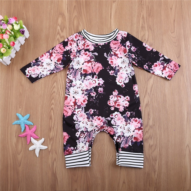 Fashion Cute Newborn Infant Baby Girls 2017 Autumn Winter Long Sleeve Floral Striped Rompers Playsuit Jumpsuit Children Clothes black pink floral flowers design long pants long sleeve button bototm stripes - Here Comes A Baby