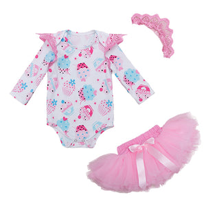 Birthday Party clothes New Baby Girl Clothing Pink Cartoon Long Sleeve Baby Rompers Tutu skirt headband 3Pcs Set Gift - Here Comes A Baby