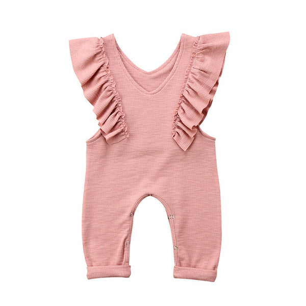brown & pink pleated ruffle romper - Here Comes A Baby