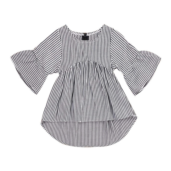 Baby Girl Dress Autumn 2018 Flare Sleeve Baby Dress for Party Holiday Black White Striped Children Kid Fashion Clothes for Girls - Here Comes A Baby