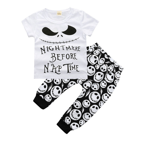 2 piece tshirt and pants with holiday prints of halloween or monsters for neutral sets - Here Comes A Baby