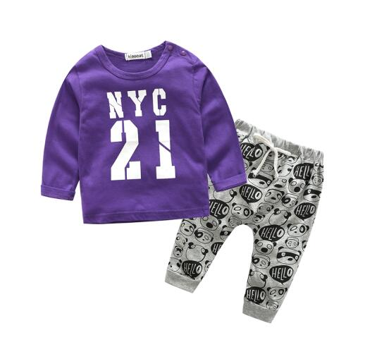 two piece printed number nyc sets with long sleeve sweatshirt style shirt and printed logo pants with tie drawstring black grey blue navy white - Here Comes A Baby