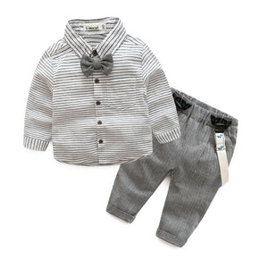 Newborn baby clothes children clothing gentleman baby boy grey striped shirt+overalls fashion baby boy clothes newborn clothes - Here Comes A Baby