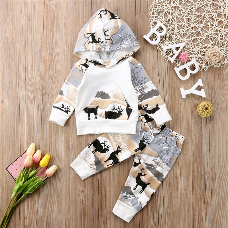 2018 Autumn Spring Baby Clothing Toddler Kids Baby Boys Warm Hooded Tops Deer Pants Leggings Sport Outfits Tracksuit Clothes Set - Here Comes A Baby