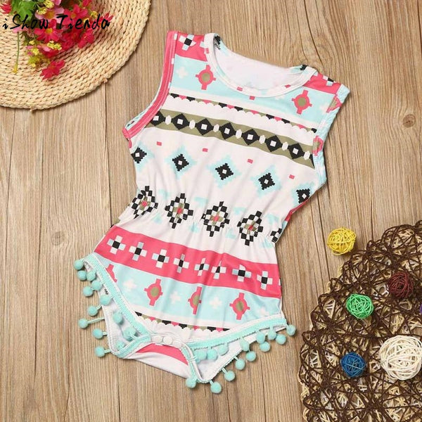 One piece romper with tassel embellishments, elastic waist. - Here Comes A Baby
