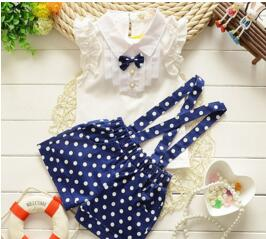 baby Summer girls clothing sets baby girls overalls suit baby girls clothes set kids tracksuit set baby girl sport suit pink or navy polka dot suspenser short with ruffle sleeve button up shirt and collared neck - Here Comes A Baby