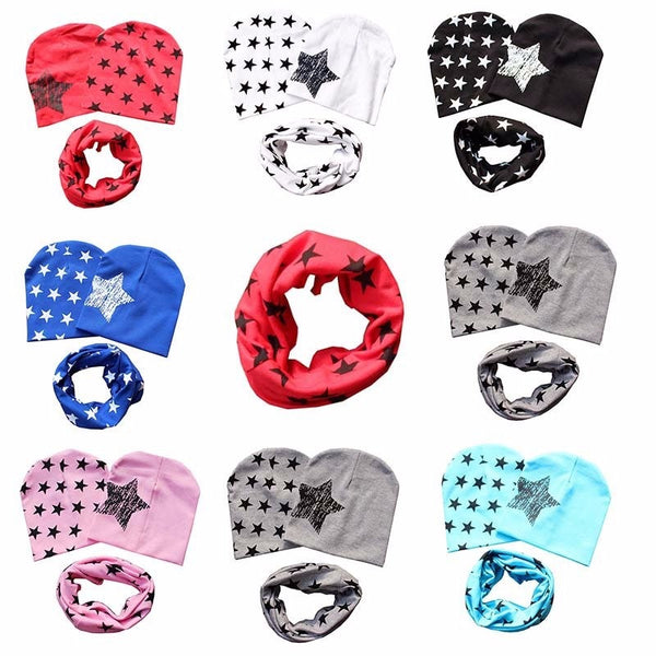 1 Set Cotton Baby Hat Scarf Kids Hat Autumn Winter Children scarf-collar Boys Warm Beanies Star Print Infant Hats 2018 New - Here Comes A Baby