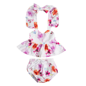 2 piece set with floral design lightweight for summer bloomer short and tank strap shirt - Here Comes A Baby