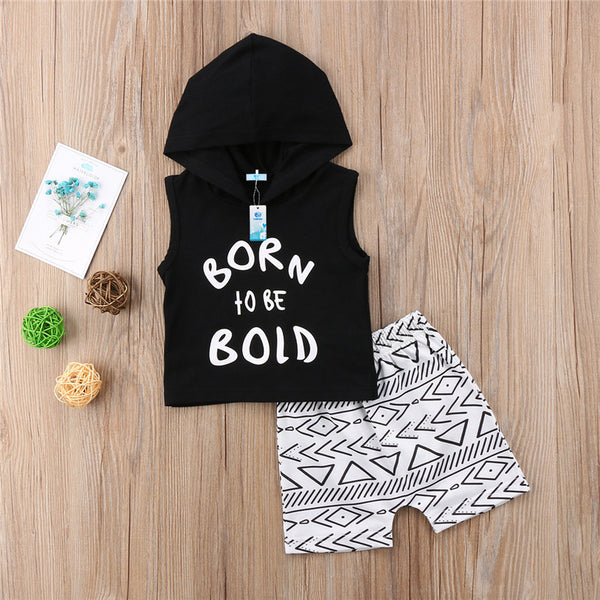 2pc boys set with hooded tank top cutoff sleeve with print and designed shorts to match - Here Comes A Baby