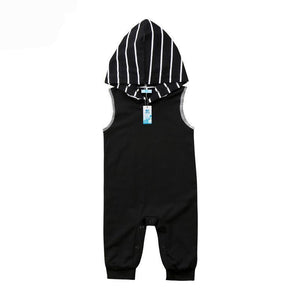 hooded tank top sleeveless black and white romper with long pants and cutoff sleeve with stroped hoodie - Here Comes A Baby