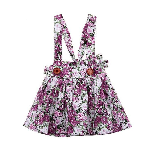 floral suspender romper dress sold seperatly to match with any shirt or top you like. pair it with one of our matching booties for the perfect look. - Here Comes A Baby