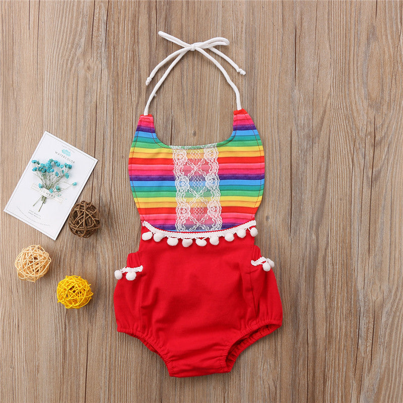 rainbow romper halter tie red lace girl baby babies toddlers clothing spring summer cute - Here Comes A Baby