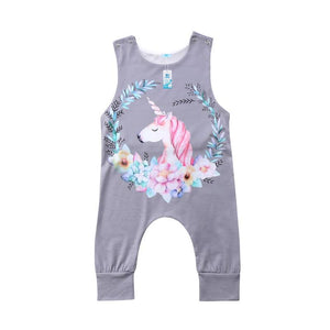 one piece sleeveless tank top romper long pants grey unicorn - Here Comes A Baby