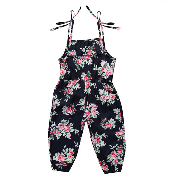black and pink floral one piece romper with long pants and tie string shoulder straps - Here Comes A Baby