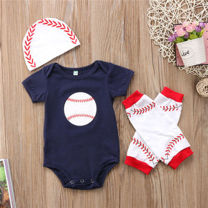 baseball 3pc set onsie legwarmer hat beanie red white blue - Here Comes A Baby