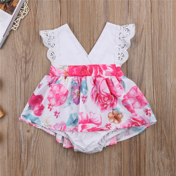 baby toddler sister set onesie romper girl floral dress - Here Comes A Baby