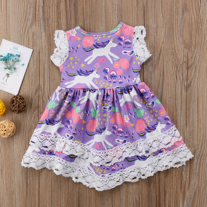 purple pink white blue lace ruffle unicorn dress for babies and toddler girls - Here Comes A Baby