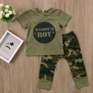 2 piece or 3 piece olive green camo set with camoflouge print pants and printed tshirt - Here Comes A Baby