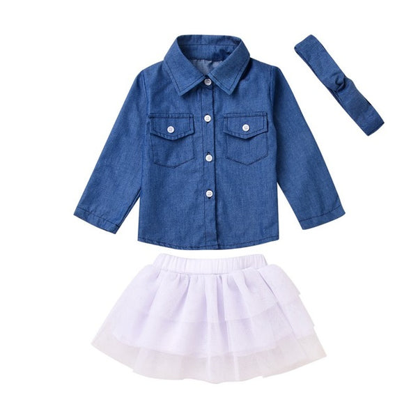 3PCS Girls Set with Denim Top, white Tutu Skirt and denim Headband - Here Comes A Baby