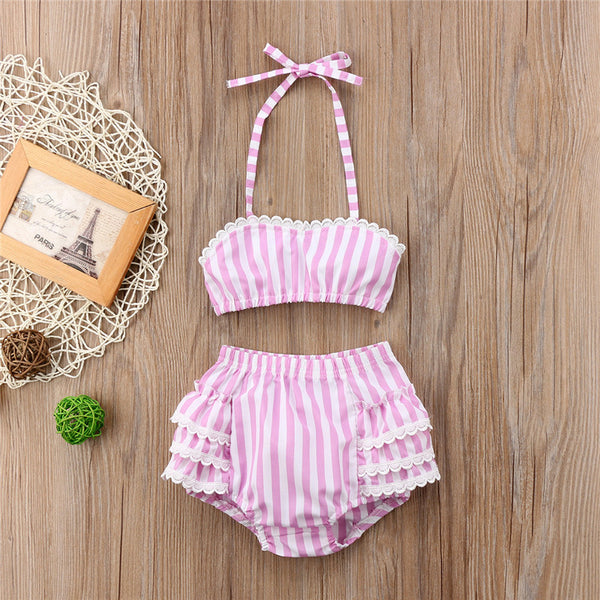 pink and white striped 2 piece halter bikini with ruffle bottom swimsuit - Here Comes A Baby