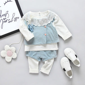 3PCS Newborn Baby Girls Bunny Waistcoat +Ruffles T-Shirt +Pants Clothes Set white pink blue ruffle - Here Comes A Baby