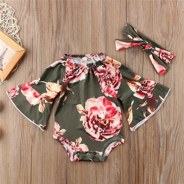 Summer 2018 Cute Baby Girl Clothes Newborn Baby Flare Sleeve Tops Floral Romper Jumpsuit Headband 2pcs Sunsuit Beachwear Clothes - Here Comes A Baby