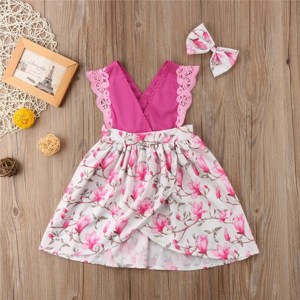 New Newborn Toddler Infant Kid Baby Girls Sisters Matching Lace Floral Romper Dress Outfit Sleeveless Sundress pink floral - Here Comes A Baby