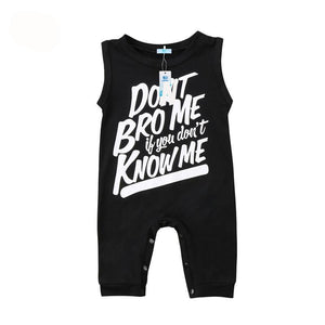 black Infant Toddler Baby Boy Girls Letter Print Jumpsuit Romper Playsuit Outfits Clothes Sleeveless Cool Rompers - Here Comes A Baby