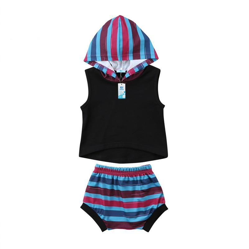 Stylish Summer Baby Girls Hooded Striped Tops Vest+Shorts 2pcs Outfits Clothes Toddler Girls Clothing Kid Tracksuit Clothing Set - Here Comes A Baby