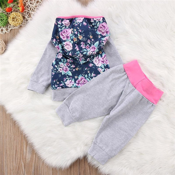 Wholesale 2PCS Trend Clothing Newborn Baby Girls all-match Floral Heart Hooded Tops Pants Casual Home Outfits Infant Clothing grey pink blue - Here Comes A Baby