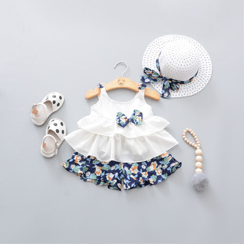 3 piece set with sleeveless Tank top. floral print design and lovely little hat with bow to make the outfit even more special on your little girl. - Here Comes A Baby