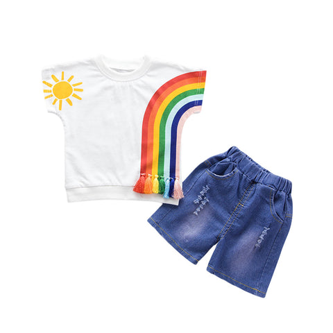 2 piece set with Short sleeve Rainbow print shirt and tattered jean short - Here Comes A Baby