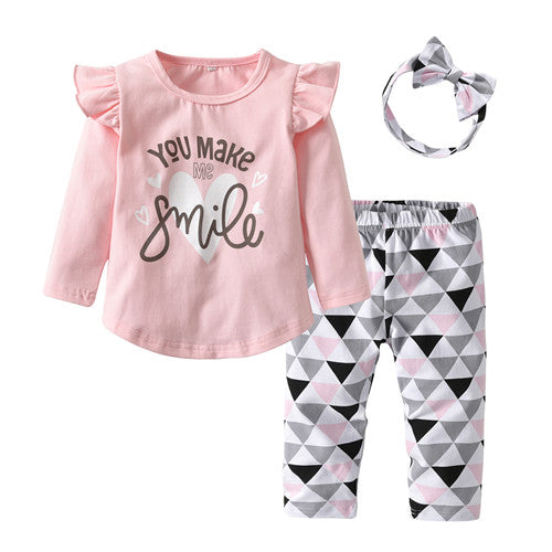 3Pcs Newborn Baby Girl Clothes Pink Sleeve Ruffle Tops+Geometric Pants+Headband Infant Toddler Baby Girls Clothing Set - Here Comes A Baby