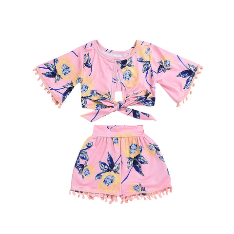 Pudcoco Toddler Girl Summer Clothing Set T-shirt Tops+Short Pants Outfits Kids Baby Girl Flower Tassel Clothes 2pcs pink blue floral - Here Comes A Baby