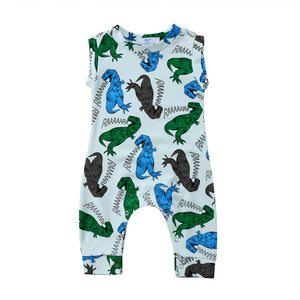 Newborn Kid Baby Boys Girls Unisex Dinosaur Romper Summer Sleeveless Clothes Jumpsuit Rompers Clothes Outfits Age 0-24M Outfits white blue green brown tank top long pant - Here Comes A Baby
