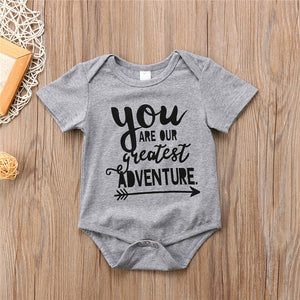 Newborn Baby Cotton Letter Romper Infant Boy Girls Jumpsuit Clothes Outfit Short Sleeve Summer Beach Outfits Sets Lovely Rompers - Here Comes A Baby