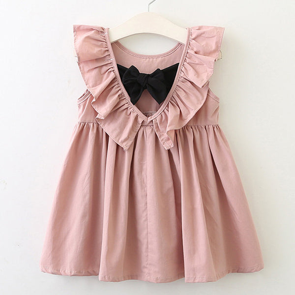 baby toddler girls short sleeve tank top style dress with ruffle sleeve and tie bow - Here Comes A Baby
