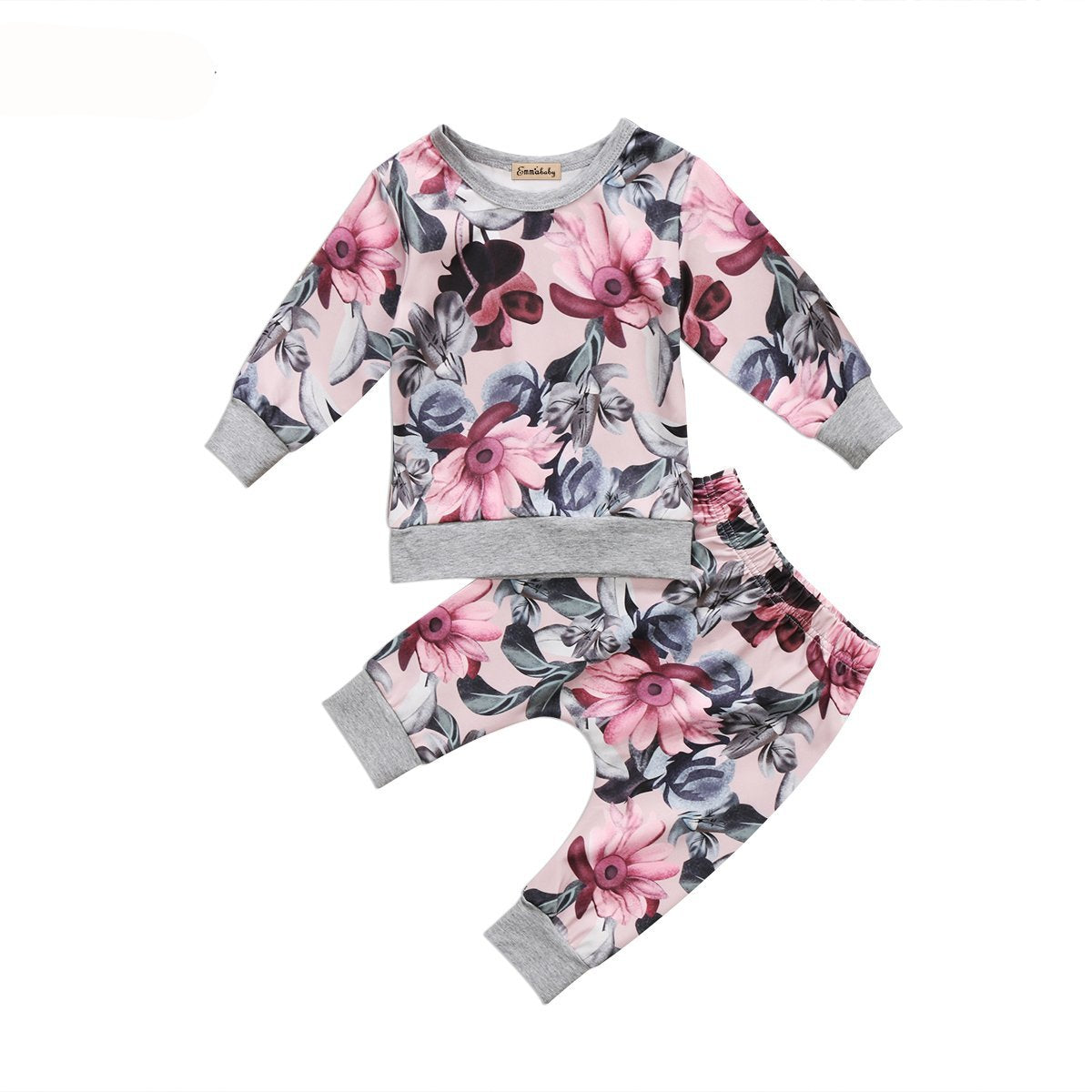 New arrival Floral print clothes set Baby Girl Kids long sleeve Sweatshirt Tops+ Long Pants cute 2pcs Outfits Tracksuit Clothes - Here Comes A Baby