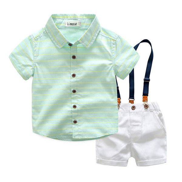 Kimocat Summer Boys Clothing Sets Children Clothing Set Kids Boy Clothes Flower Tie Shirts+Shorts 2PCS Gentleman Suit With Tie - Here Comes A Baby