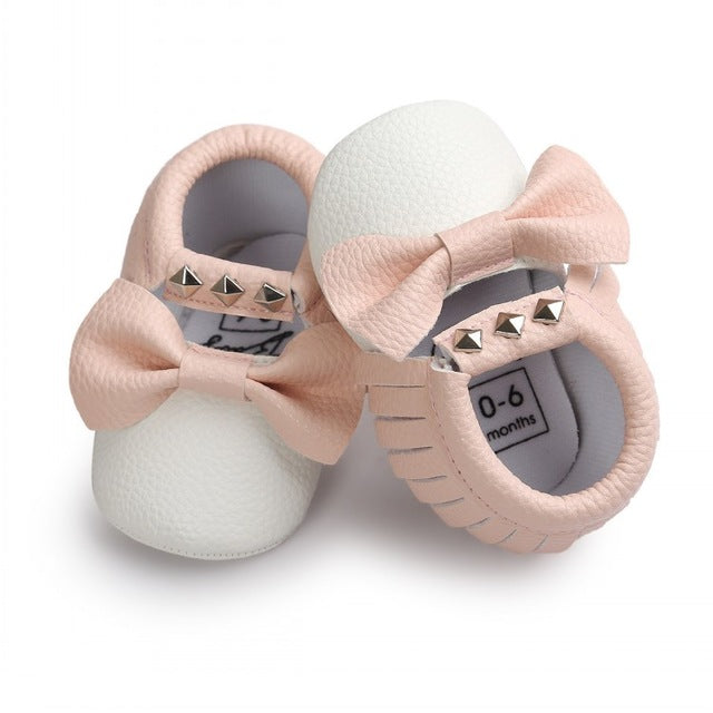 striped or solid shimmer Newborn Baby Boys Girls MoccasinsFootwear Soft Sole Crib Bebe Big Bow Shoes Kids Anti-slip New Fashion First Walkers Shoe - Here Comes A Baby