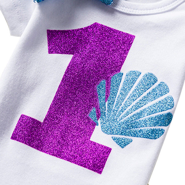 Baby Girl 1st Birthday Outfits Little Mermaid Glitter Purple Tutu Baby Clothing Sets Shower Gift Toddler Baby Girl Summer Suits - Here Comes A Baby