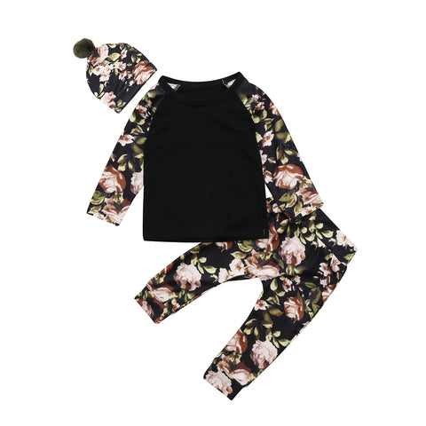 Fashion Cute Infant Newborn Baby Girl Clothes Hooded Sweatshirt floral Pants pom hat 3pcs Outfit Cotton Baby Tracksuit Set sweat suit black floral flowers - Here Comes A Baby