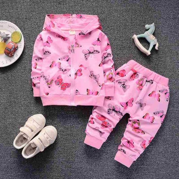 newborn baby girls clothing set spring autumn toddler coat+pants 2pcs casual cotton suits for girls infant tracksuits sweatsuit hooded hoddie pink butterfly 2 piece set sweats - Here Comes A Baby