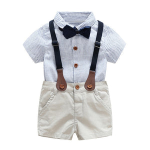 2PCS Baby Boys Clothes Summer Newborn Infant Clothes short sleeve t-shirt + shoulder straps Gentleman Children Clothing Bow tie white shirt with bowtie that matches shorts with suspenders. - Here Comes A Baby